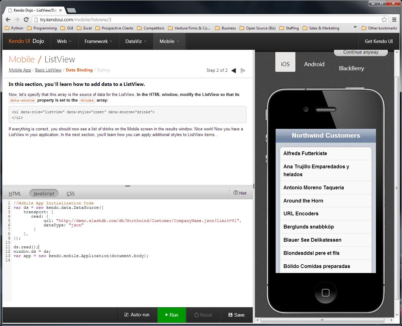 Data from SlashDB shown in KendoUI app.