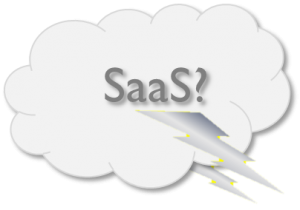 SaaS illustration - cloud with lighting.