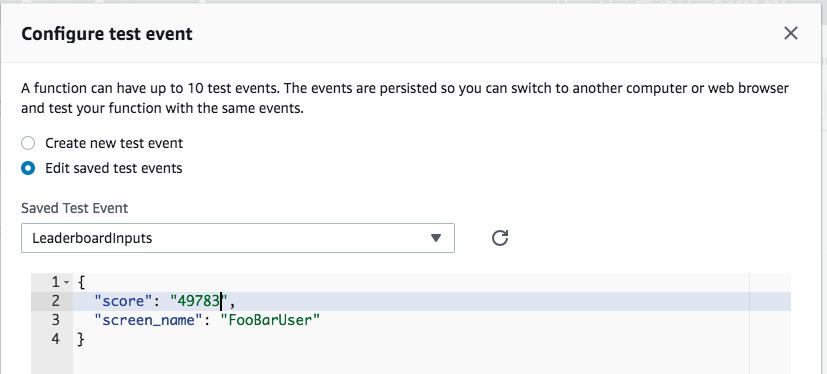 Configuring Test Event in AWS Lambda